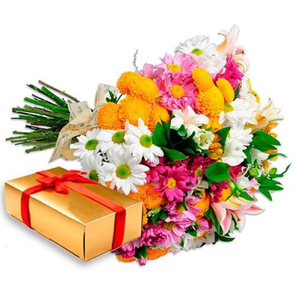 Buquê de flores e bombom