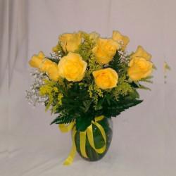 Jarro com 12 rosas nacional na cor amarela Com tango e egípcio.