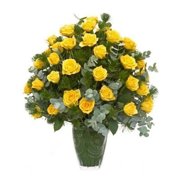 Arranjo com 3 dúzias de rosas amarelas