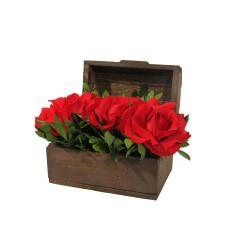 Baú com 3 rosas vermelhas importadas