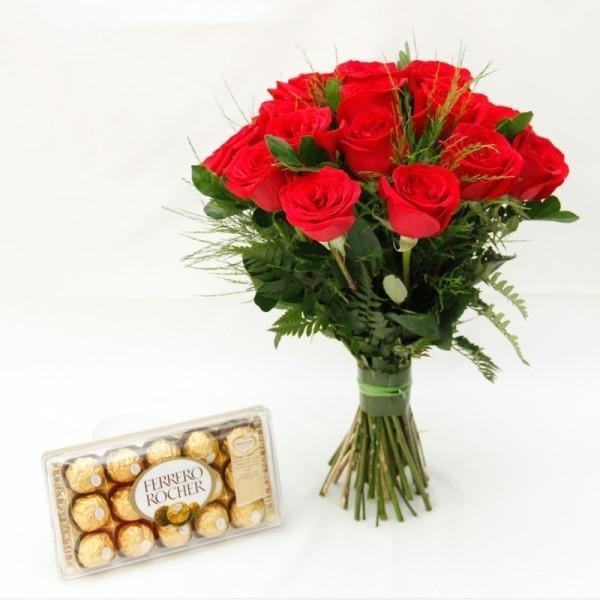Buquê de rosas com chocolate
