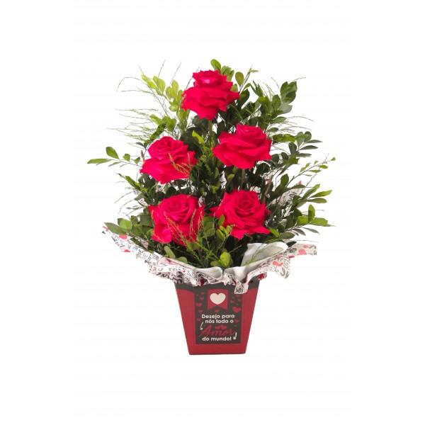Caixa com 5 rosas colombiana
